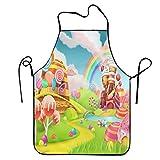 aportt unisex sweet candy apron funny ice cream apron rainbow baking apron durable bib fun kitchen