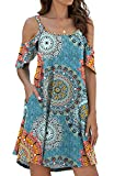 Jouica Women's Summer Casual Loose Mini Dress Strapless Strap Cold Shoulder Ruffle Sleeves Dresses with Pocket,Flower Mix Blue, Medium