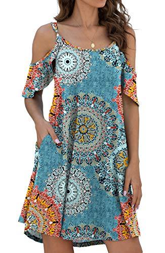 Jouica Women's Summer Cold Shoulder Floral Print Dresses Swing T-Shirt Dress with Pockets,Flower Mix Blue, Large