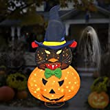FLAGLY Lighted Halloween Decoration Pre-lit Light Up Black Cat and Jack O Lantern Pumpkin Witch Hat Collapsible Waterproof Holiday Decor for Home Indoor Outdoor, Party Lawn Garden Patio Yard Pathway