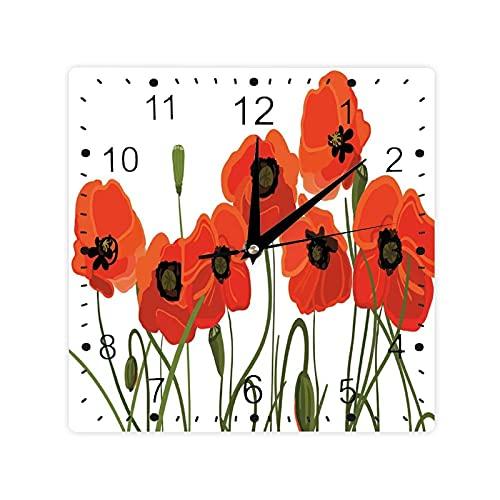 Efflorescing Prado en el Backwoods Flores vibrantes brotes ramo de color cuadrado Morden reloj Slient