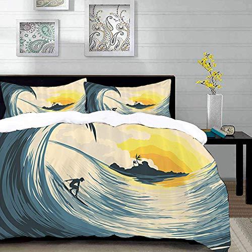 ropa de cama - Juego de funda nórdica, juego de océano, ilustración de cielo nublado, isla tropical, ola y surfista en Sunset Seascape, Sand Br, juego de funda nórdica de microfibra con 2 fundas de al