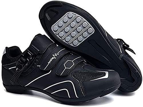 Scarpe da Ciclismo Scarpe da Strada E Mountain Bike in Fibra di Carbonio Antiscivolo E Traspiranti, Sneakers A Strisce Riflettenti (44,Grigio)