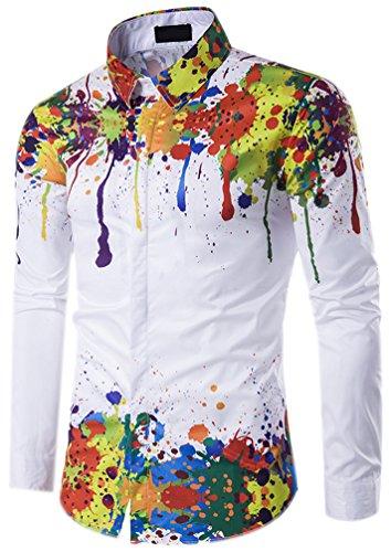 Hemden Herren Hemd Muster Langarm Männer Herrenhemden Slim Fit Oberhemden Mode Casual Männerhemden Langarm-Shirt Top Bluse Oberteile Freizeithemd Shirt Mit Aufdruck Mehrfarbig XL