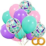 Unicorn Balloons 40 Pack, 12 Inch Light Purple Pink Seafoam Blue Latex Balloons with Confetti Balloon for Party Supplies Graduation Wedding Baby Shower Unicorn Birthday Decorations with Ribbon