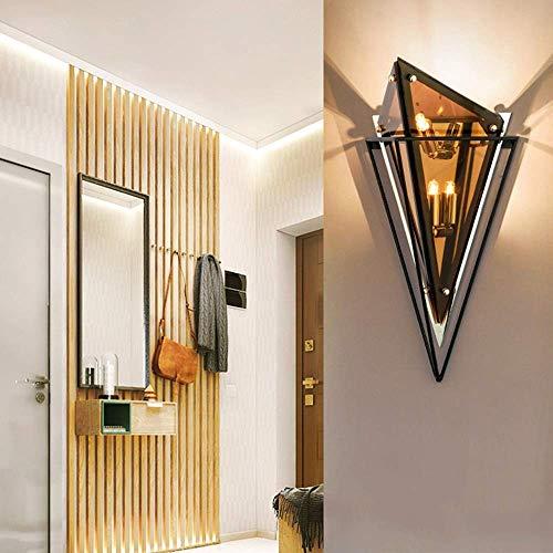 Mkjbd wandlamp, lantaarn, tuin, wandlamp, LED, wandlamp, woonkamer/hotel/kamer, allee, binnenlamp, diamant, glas, achtergrondverlichting, wandlamp, mooi, mm Beige