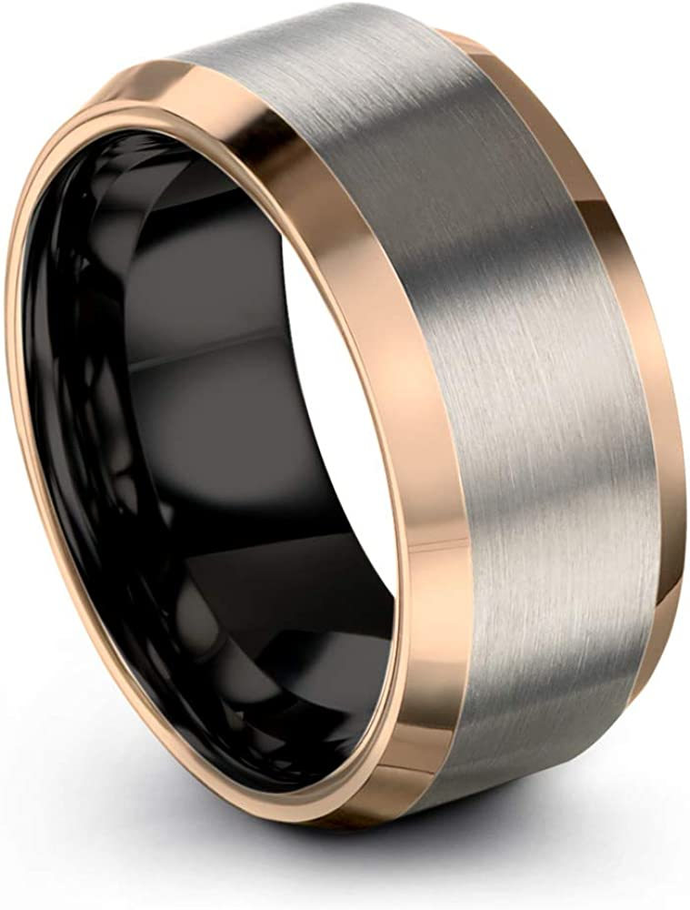 Midnight Ranking TOP7 Rose Collection Courier shipping free shipping Tungsten Wedding Band Men Ring 10mm for