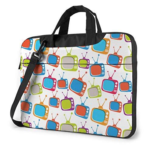 TV Retro Laptop Bag Compatible con 13-15.6in Laptop Messenger Bandolera con Correa,