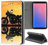 Samsung Galaxy S4 / S4 Neo Hülle Premium Smart Einseitig Flipcover Hülle Samsung S4 / S4 Neo Flip Case Handyhülle Samsung S4 Motiv (1592 Motorrad Schwarz Gelb)