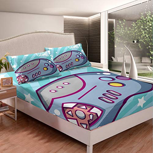 Feelyou Gamepad Bedding Set Cartoon Games Bed Sheet Set for Kids Boys Teens Video Game Gamepad Fitted Sheet Colorful Action Buttons Bed Cover Luxury Room Decor 3Pcs Sheets Full