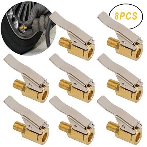 Osuter Boquillas Inflado Neumático, 8PCS Válvula Inflado Neumáticos Latón Hilo Conector Inflador para Válvula de Neumático de Coche Camión(8mm)