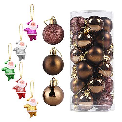 Christmas Balls Suministros De Decoración Moderno Brillante 24 Uds Fiesta Cumpleaños Gadgets Adornos De Boda De Plástico Colgantes-A-6Cm