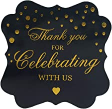 """OPG Thank You For Celebrating With Us Stickers, Gold Thank You Sticker, Decorative Stickers for Party Supplies,50-Pack 2"""""""