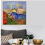 zkpzk Vincent Van Gogh El Puente De Langlois En Arles Mujeres Lavando Pintura Lienzo Póster Arte De ...
