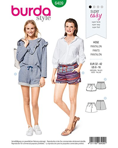 Burda 6409 Schnittmuster Shorts (Damen, Gr. 32-42) Level 1 super Easy