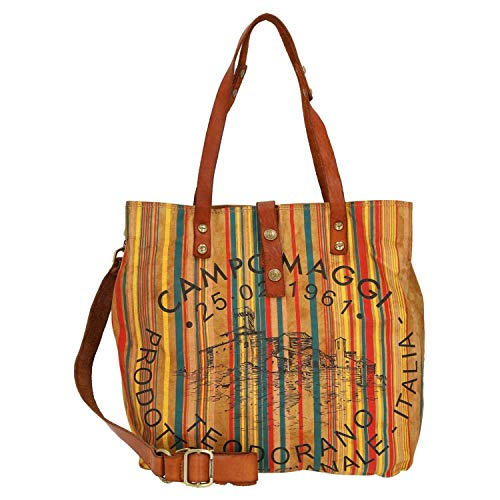 Campomaggi Shopper 33 cm beige/Cognac Stained/Black Print