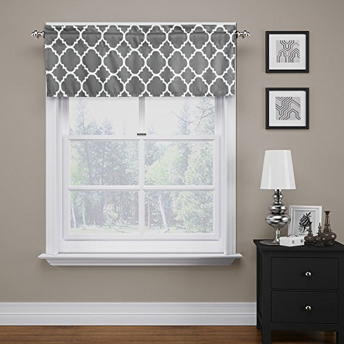 """Flamingo P Moroccan Valance Curtain Extra Wide and Short Window Treatment for for Kitchen Living Dining Room Bathroom Kids Girl Baby Nursery Bedroom (Mild Gray - 52"""" x 18"""")"""
