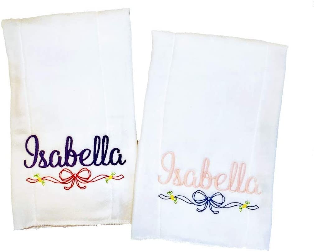 2 Burp Cloth for Baby Girl Low price 100% Organic wit Embroidered Regular dealer Cotton
