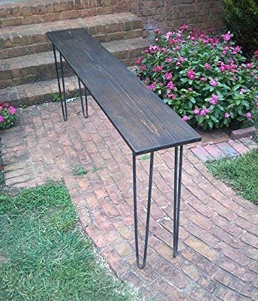 Beautiful Dark Walnut Poplar Console Table Sofa Table With Raw Steel Hairpin Legs