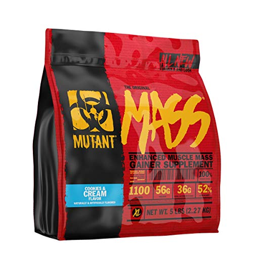Mutant Mass Weight Gainer Protein Powder – Build Muscle Size and Strength with 1100 Calories – 56 g Protein – 26.1 g EAAs – 12.2 g of BCAAs – 5 lbs – Cookies & Cream