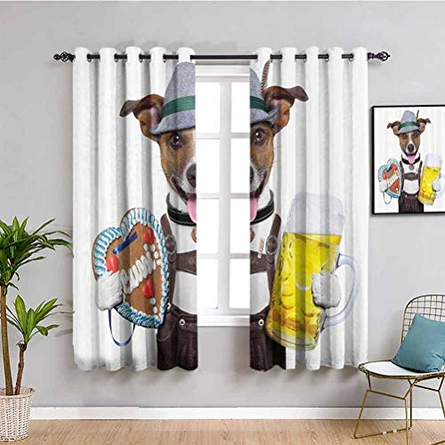 Festival Decorations Collection Blackout Window Curtains Oktoberfest Dog with Beer Mug and Gingerbread Heart Reduce Light Smiling Happy Times Art W63 x L63 Inch