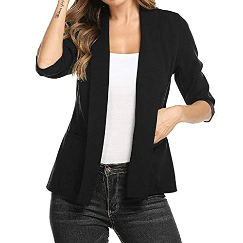 0f365f247ea4 GOVOW 3/4 Sleeve Blazer for Women Open Front Short Cardigan Suit Jacket  Work Office