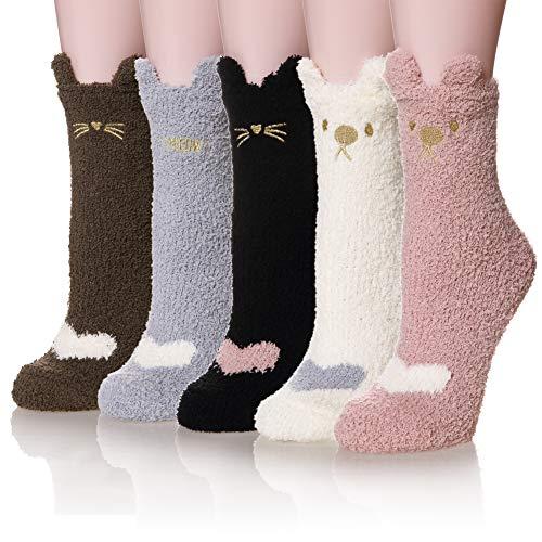 Women's 5 Pairs Super Soft Microfiber Fuzzy Winter Warm Slipper Home Socks (5 Pairs Cat)