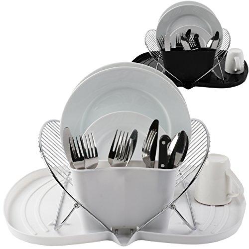 Oramics Abtropfgestell Geschirrkorb mit faltbarem Abtropfgitter und Auffangwanne – in Weiß oder Schwarz 48 x 37 x 19 cm (ausgeklappt) – Besteckkorb für Teller, Besteck, Tassen und Gläser (Weiß)
