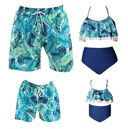 Family Matching Swimsuits - Mens Boy Quick Dry Swim Trunks with Pockets - Women Girls High Waisted Bikini Bathing Suits (Blue, Mens XL)