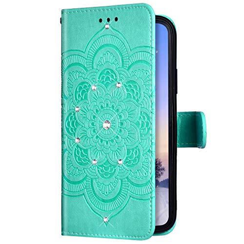 Uposao Compatible avec iPhone 11 Pro Coque Glitter de Luxe,Portefeuille PU Premium Housse Etui Cuir à Rabat Magnétique,Mandala Fleur Paillette Glitter Diamant Stand Folio Flip Case,Vert