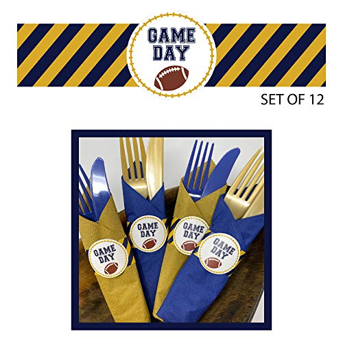 Football Tailgate Napkin Ring Band - Blue Gold (Set of 12)