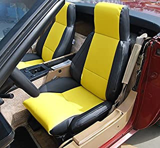 Iggee Chevy Corvette C4 Standard(Base) 1984-1993 Black/Yellow Artificial Leather Custom Made Original fit seat Cover