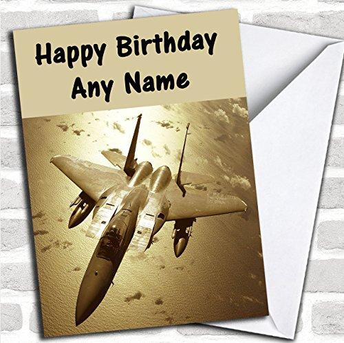 Gouden Fighter Jet Plane Aangepaste Verjaardag Groeten Kaart- Verjaardagskaarten/Vliegtuigen, Treinen & Automobiles Kaarten