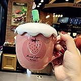 HRDZ Taza de café de cerámica de Fresa Linda Taza de Agua de Vientre de niña de Dibujos Animados con Tapa Taza Taza de Estudiante
