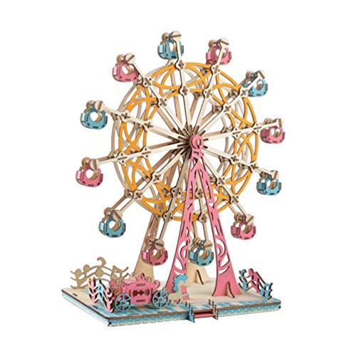 Toyvian Ferris Wheel Puzzle 3D Rompecabezas de Madera Modelo Kit Diy Construcción Modelo de Juguete para Niños