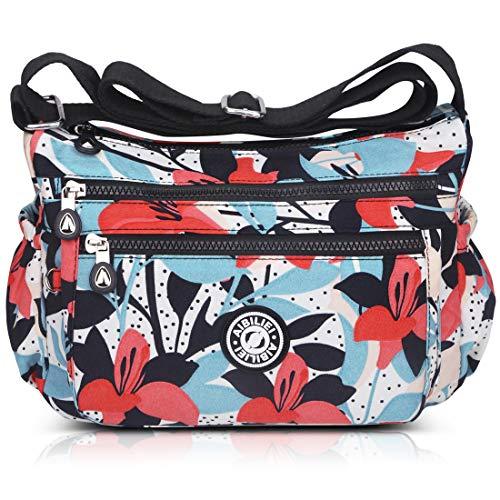 ABLE Multi Bolsillo Bolso Ocio Bolsa Viaje Mensajero Bolsas Impermeable Mujer Bolsos de Mano Bolsas de Viaje Messenger Bag (2-Negro)