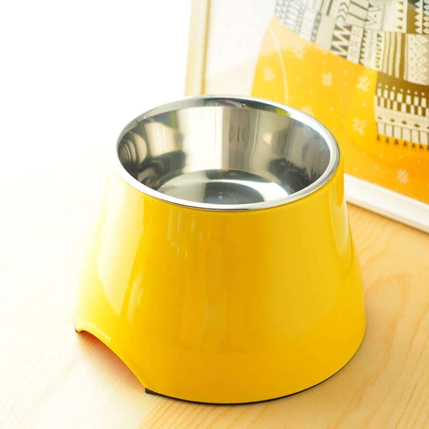 ANDRE HOME Dog Food Bowl Large Dog Stainless Steel High Bowl Cat Bowl Yellow Pet Supplies (Size   S)