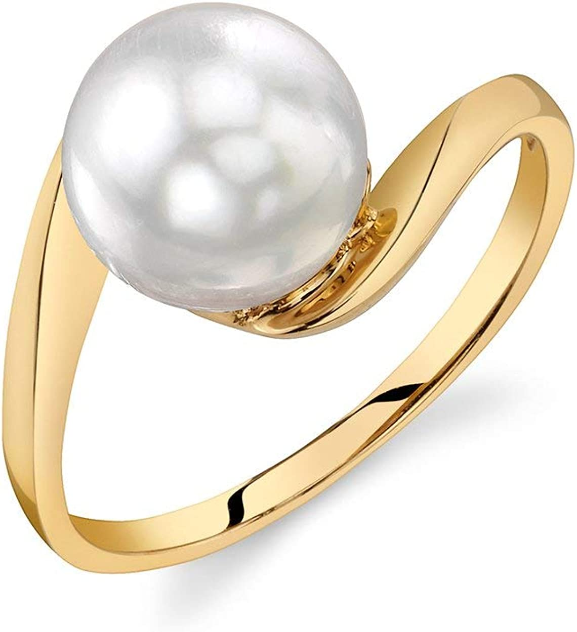Pearl Ring with 8mm White South Sea Cultured Pearl and 14K Gold Felice Pearl Ring for Women - THE PEARL SOURCE