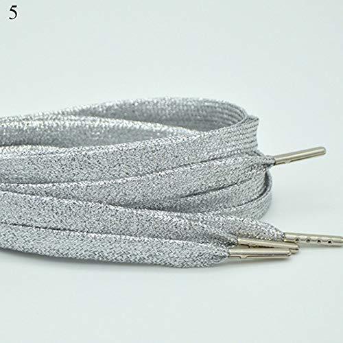 AXIEDAISchicke, Schimmernde, elastische Schnürsenkel Frauen Mann breit, kühl, flach, glitzernd, glänzend Mode, glitzernde Schnürsenkel, Farben, metallische Schnürsenkel5