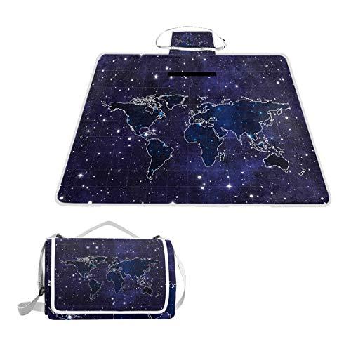LZXO Jumbo-Picknickdecke, faltbar, Galaxie-Muster, groß, 145 x 150 cm, Wasserdicht, handliche Matte, für Outdoor-Reisen, Camping, Wandern.