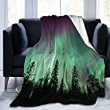 Inontime Cobija Rustic Flannel Fleece Throw, 80'x60', Colorful Northern Lights Aurora Borealis in Norway Night Throw Blanket for Better Sleep Recliner, Super Soft and Thick Anti-Static