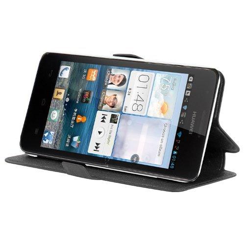 Cadorabo Hülle für Huawei Ascend G520 / G525 - Hülle in ICY SCHWARZ – Handyhülle mit Standfunktion & Kartenfach im Ultra Slim Design - Hülle Cover Schutzhülle Etui Tasche Book