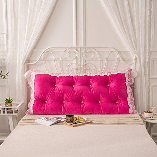 MMM- Coussin de lit de dentelle de coton Coussin de lit de chevet de grand coussin (Couleur : Rose rouge, taille : 120 * 75cm)