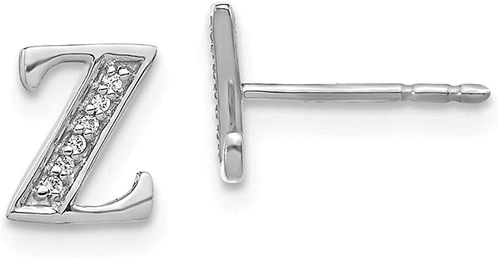 Solid 14k White Gold Diamond Initial Letter Z Button Post Studs Earrings - 8mm x 7mm (.036 cttw.)