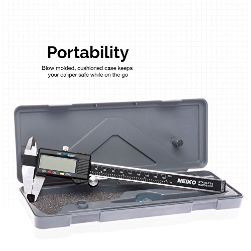Neiko 01407A Electronic Digital Caliper Stainless Steel Body with Large LCD Screen | 0 - 6 Inches | Inch/Fractions/Millimeter Conversion,Silver/Black