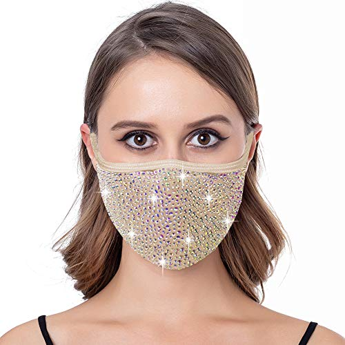 Bling Studded Rhinestone Mask for Women Sparkling Costume Masks for Adult (Nude-Iridescent)