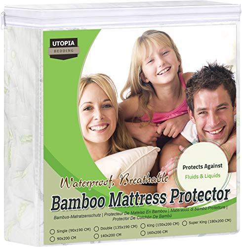 Utopia Bedding Protector De Colchón De Bambú De Primera Impermeable, Funda De Colchón, Transpirable, Estilo Ajustado En Todos Los Lados Elástico (135 x 190 x 30 cm)