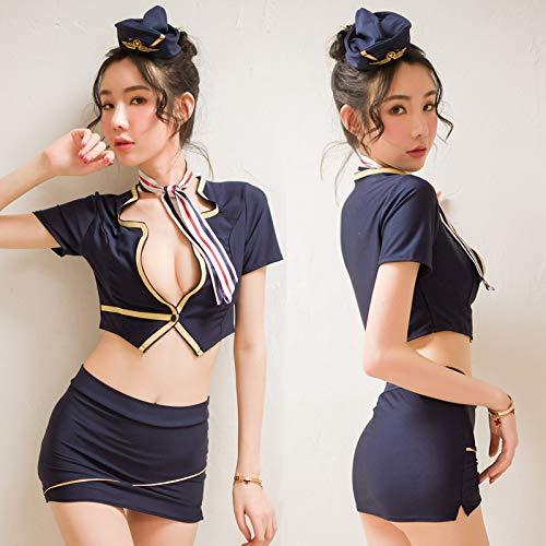 ZHANGSL Sexy Kleid, sexy Unterwäsche Frauen sexy Paket Hüfte Rock Stewardess Uniformen Versuchung montiert Polizistin bar Leistungen,Schwarze Netzstrümpfe,Einheitsgröße