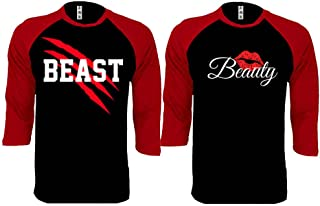 New Beast and Beauty - Couple Matching Baseball Shirts - His and Her T-Shirts