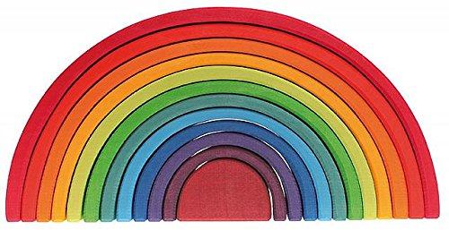 グリムGRIMM'S 玩具 おもちゃ 知育玩具 積み木 インテリア 見立て遊び 虹 レインボー 高さ18×幅38×奥行7cm ...